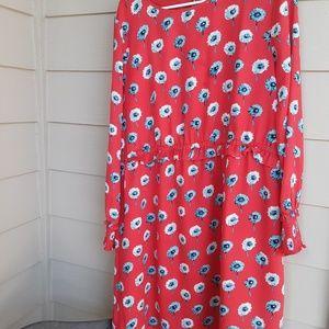 Red Poppy Print J. Crew Dress Size 16